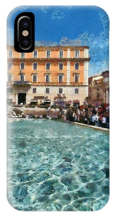 Fontana Di Trevi IPhone X Case featuring the painting Fontana Di Trevi In Rome by George Atsametakis