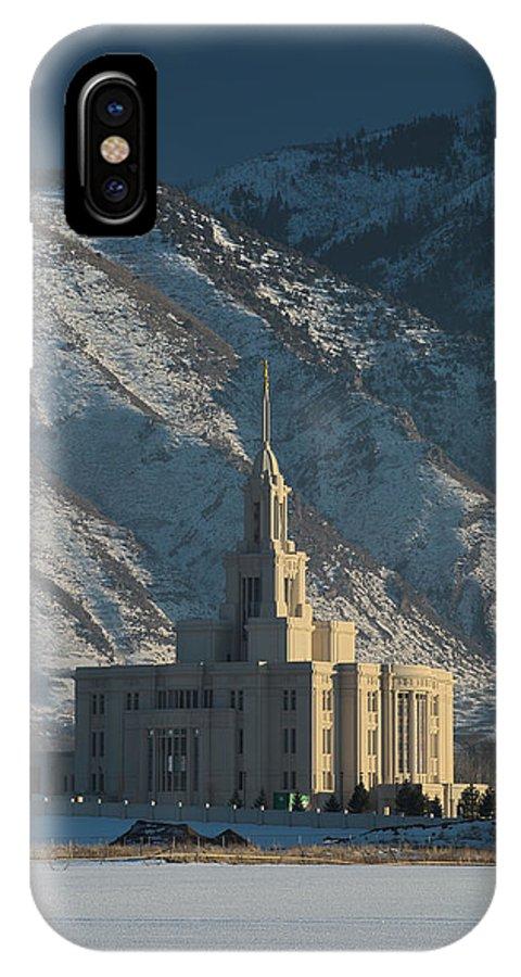 Payson Utah Lds Latter Day Saints Mormon Temple Photograph Photographs IPhone X Case featuring the photograph Payson Utah Temple In January 2014 by David Hancock