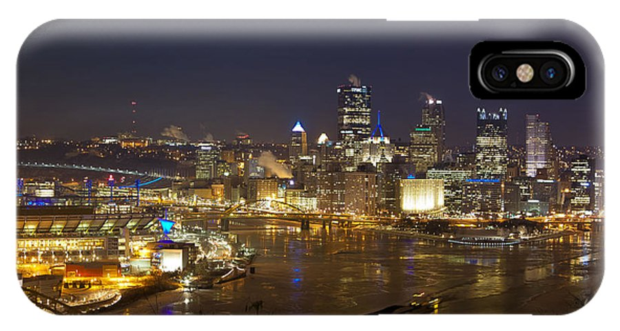 Pittsburgh Skyline IPhone X / XS Case featuring the photograph Pittsburgh At Night by Jane Galik