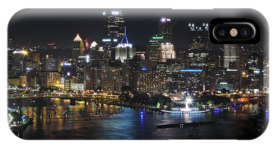 City IPhone X Case featuring the photograph Pittsburgh Skyline At Night by Cityscape Photography