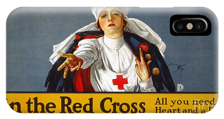 1917 IPhone X Case featuring the photograph Red Cross Poster, 1917 by Granger