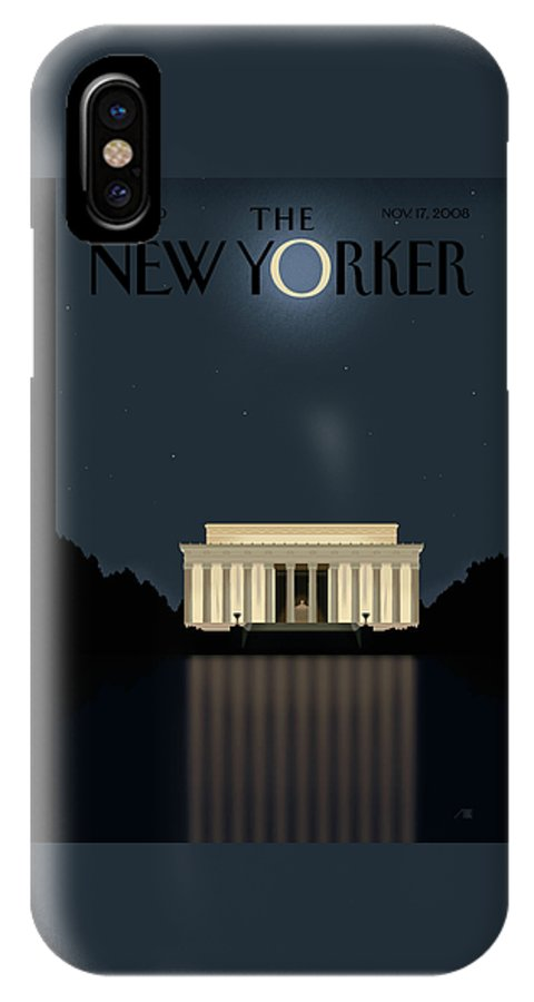 Lincoln IPhone X Case featuring the painting New Yorker November 17th, 2008 by Bob Staake