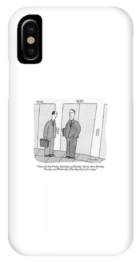 Marriage Family Children Parents Divorce Problems Word Play Kid Child Parenting Parent Discussion  (two Men Talking In Front Of An Elevator.) 121772  Pve Peter C. Vey Peter Vey Pc Peter C Vey P.c. IPhone X Case featuring the drawing I Have The Kids Friday by Peter C. Vey