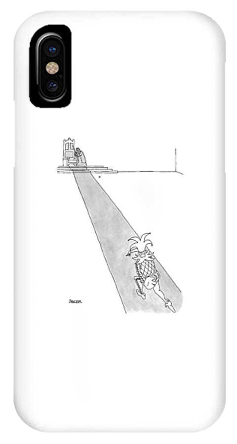 (a Court Jester Is Throwing A Baseball To A King. The King Stands Beside His Throne IPhone X Case featuring the drawing Captionless by Jack Ziegler