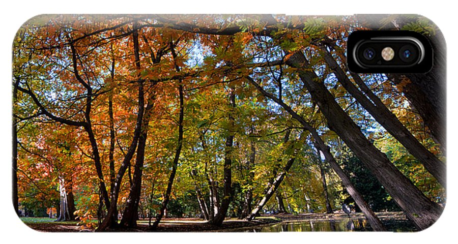 Fall IPhone X Case featuring the photograph Alley With Falling Leaves In Fall Park by Michal Bednarek
