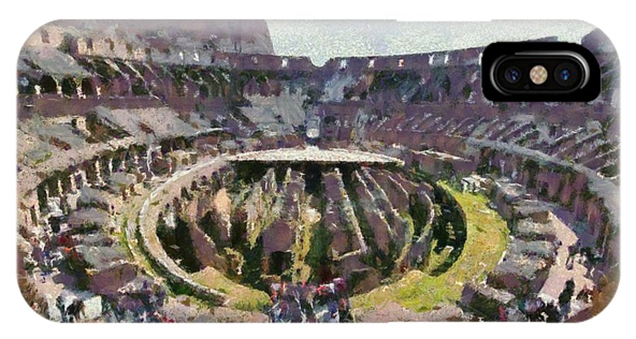 Colosseum IPhone X Case featuring the painting Colosseum In Rome by George Atsametakis