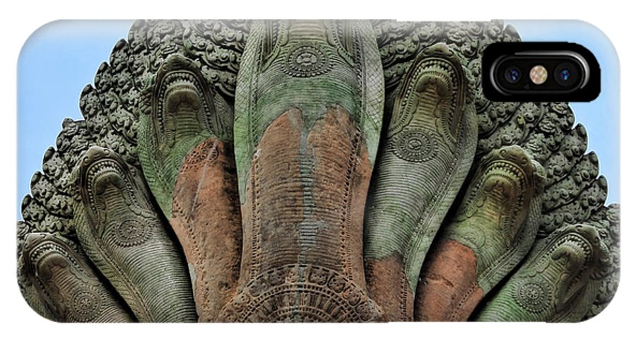 Angkor Wat IPhone X Case featuring the photograph 7 Snake Heads by Chuck Kuhn