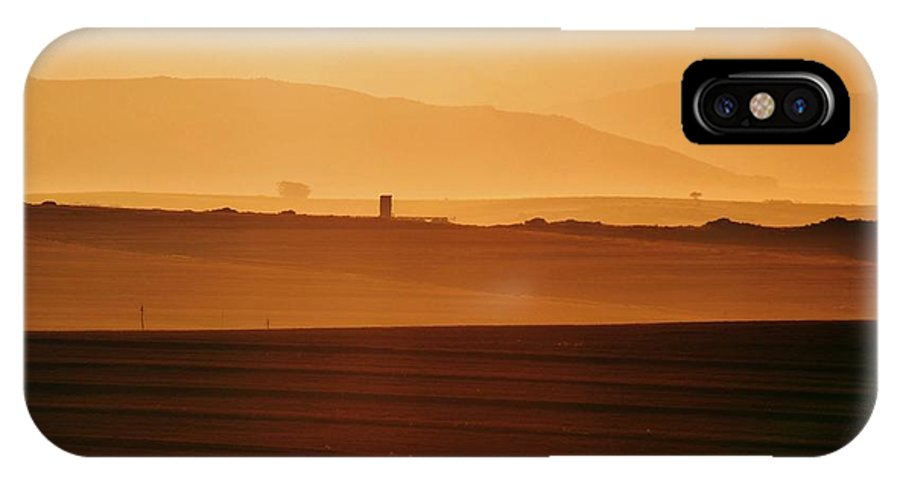 Landscape; Sunrise; Gold; Meadow; Mountains; Trees; Background; South Africa; Morning Light; Swartland; Ceres Mountains; Orange; Sky; Decorative; Poster; Wallpaper; IPhone X Case featuring the photograph Sunrise by Werner Lehmann
