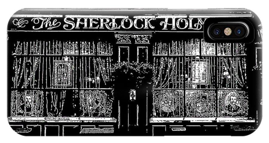 Sherlock Holmes IPhone X Case featuring the digital art The Sherlock Holmes Pub by David Pyatt