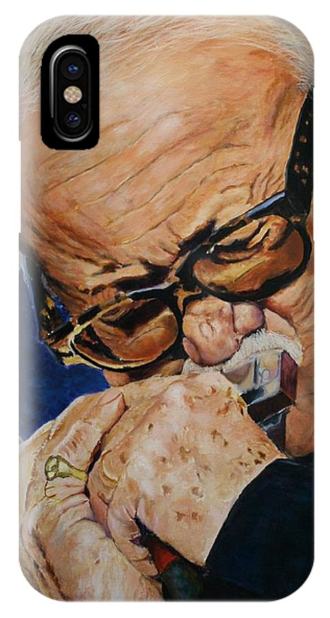 Musician Paintings IPhone X Case featuring the painting Toots Thielemans by Christian Carrette