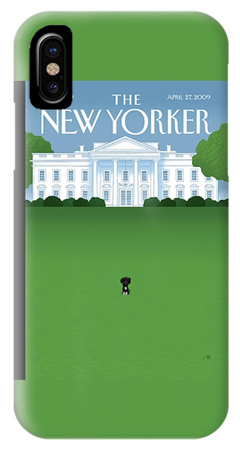 Obama IPhone X Case featuring the painting New Yorker April 27th, 2009 by Bob Staake