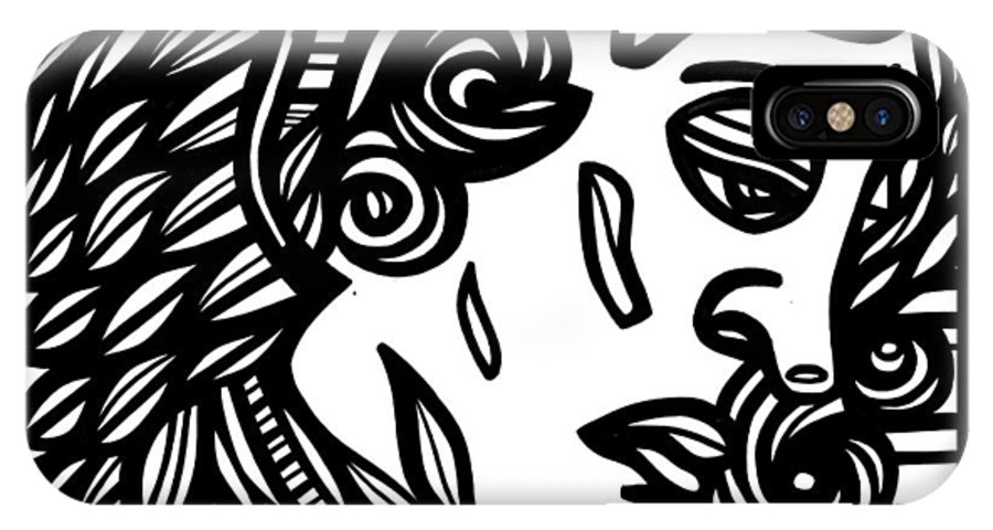 Black And White IPhone X Case featuring the drawing Sumler Angel Cherub Black And White by Eddie Alfaro
