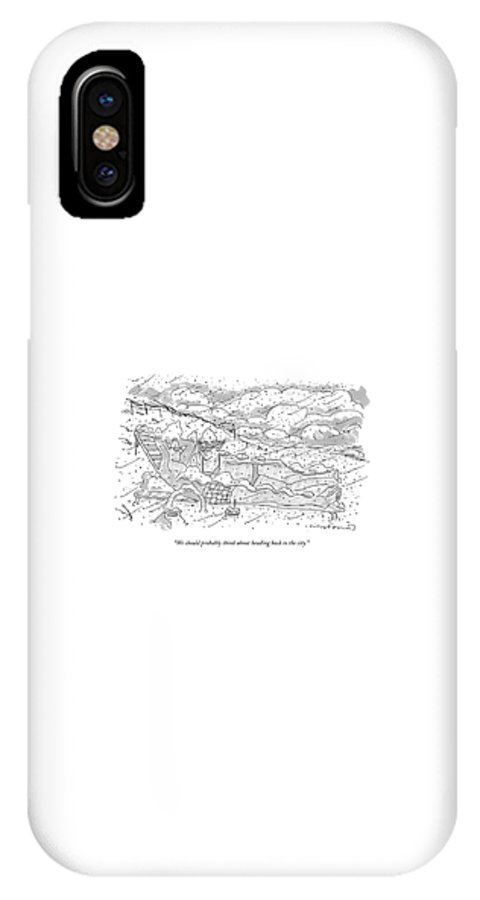 Seasons Winter Problems Vacations Leisure  (couple In Their Bathing Suits IPhone X Case featuring the drawing We Should Probably Think About Heading Back by Michael Crawford