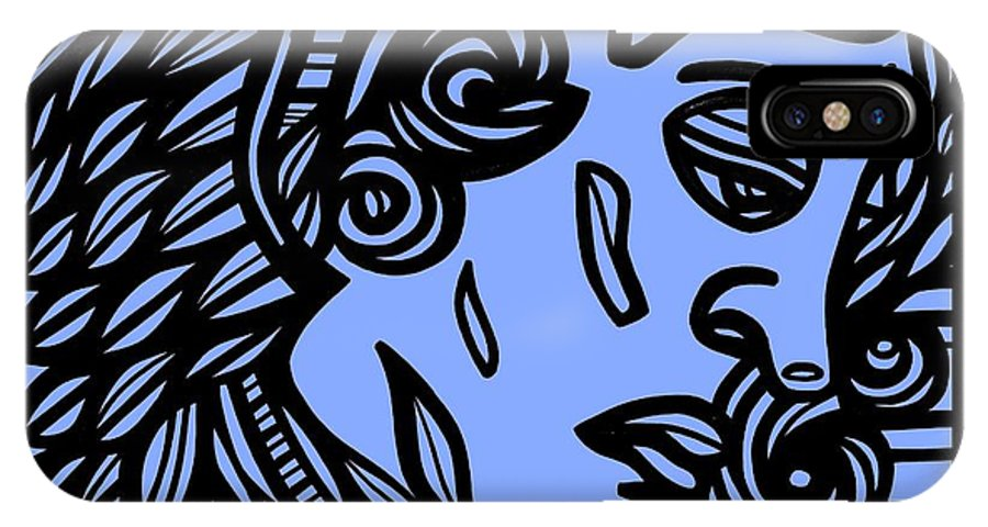 Blue IPhone X Case featuring the drawing Bouthillette Angel Cherub Blue Black by Eddie Alfaro