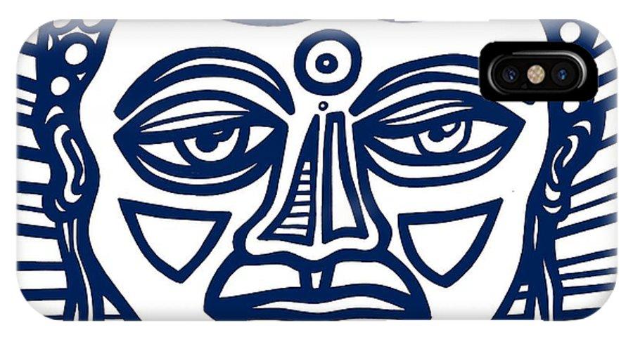 Blue IPhone X Case featuring the drawing Trivane Buddha Blue White by Eddie Alfaro