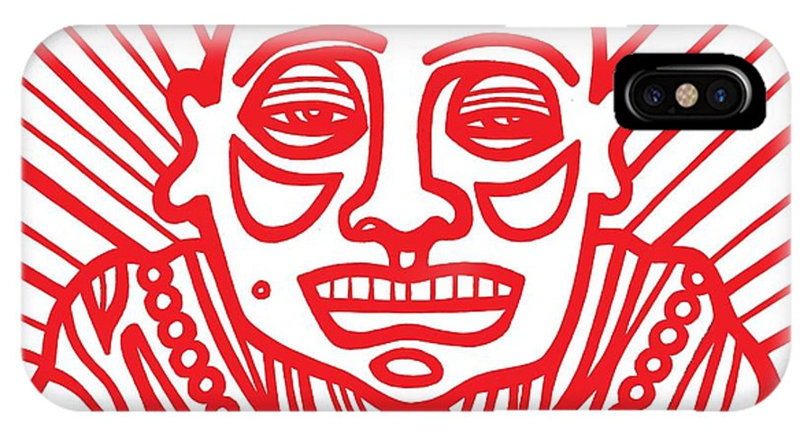 Red IPhone X Case featuring the drawing Pisco Buddha Red White by Eddie Alfaro