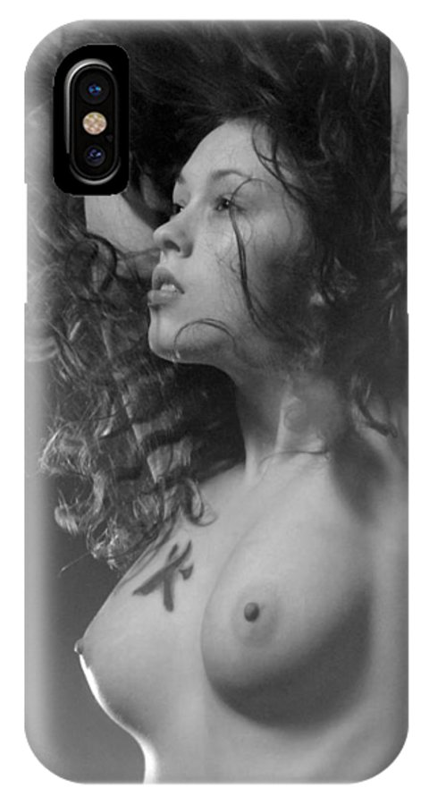 Tattoo IPhone X Case featuring the photograph 7634 Bw Nude With Fire Sign Kanjii by Chris Maher