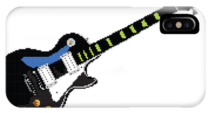 Guitar IPhone X Case featuring the digital art 8 Bit Gibson Les Paul by Lesley DeHaan