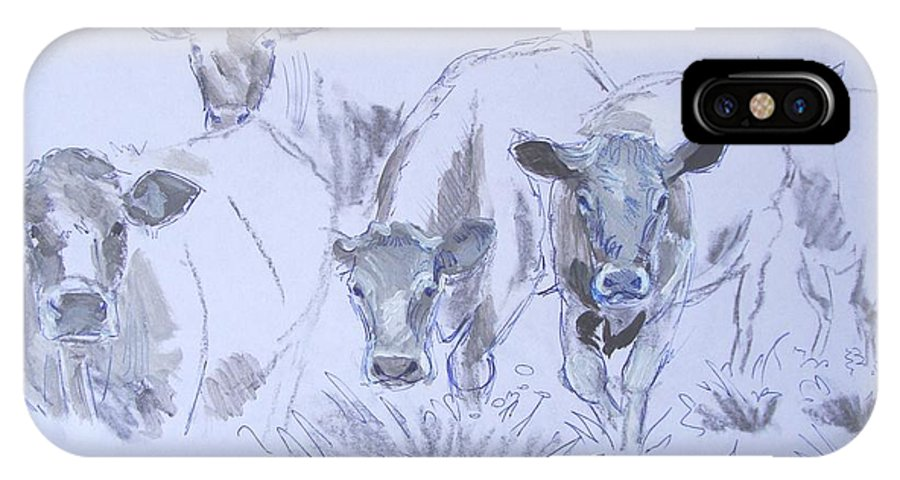 Cow IPhone X Case featuring the drawing Cows by Mike Jory
