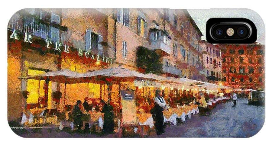 Navona IPhone X Case featuring the painting Piazza Navona In Rome by George Atsametakis