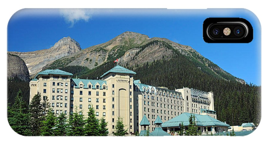 Chateau Lake Louise IPhone X Case featuring the photograph 816p Chateau Lake Louise Canada by NightVisions