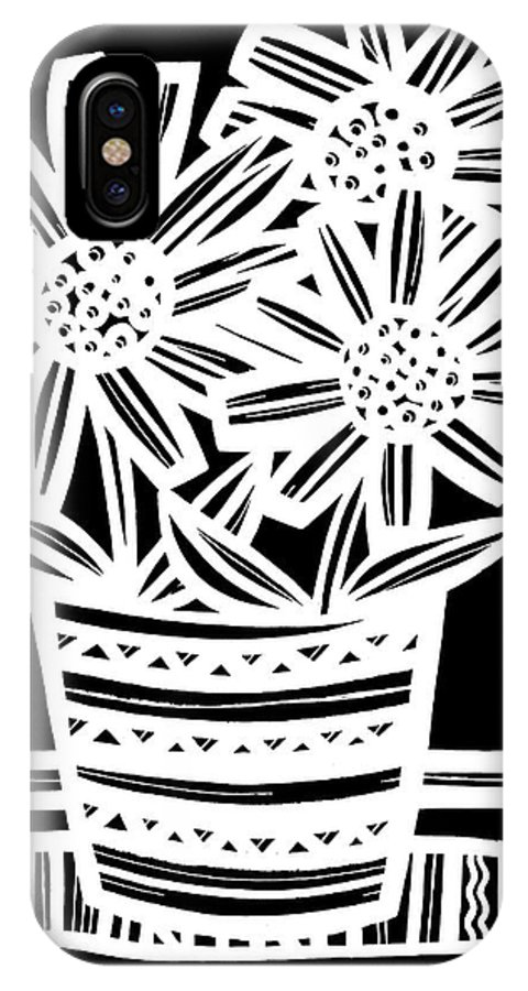 Black And White IPhone X Case featuring the drawing Imbue Flowers Black And White by Eddie Alfaro