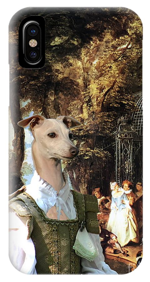 Italian Greyhound IPhone X Case featuring the painting Italian Greyhound Art Canvas Print by Sandra Sij