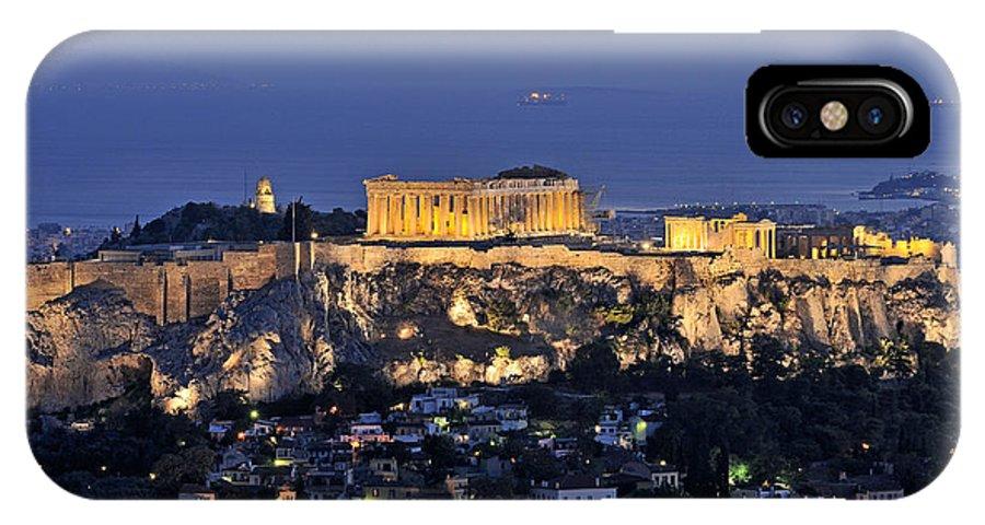 Acropolis; Acropoli; Akropoli; Akropolis; Parthenon; Monument; Athens; City; Capital; Attica; Attika; Attiki; Greece; Hellas; Greek; Hellenic; Europe; European; Temple; Ancient; Old; Sea; Holidays; Vacation; Travel; Trip; Voyage; Journey; Tourism; Touristic; Summer; Summertime; Hill; Dusk; Twilight; Night; Lights; Photos; Photograph; Photography IPhone X Case featuring the photograph Acropolis Of Athens During Dusk Time by George Atsametakis