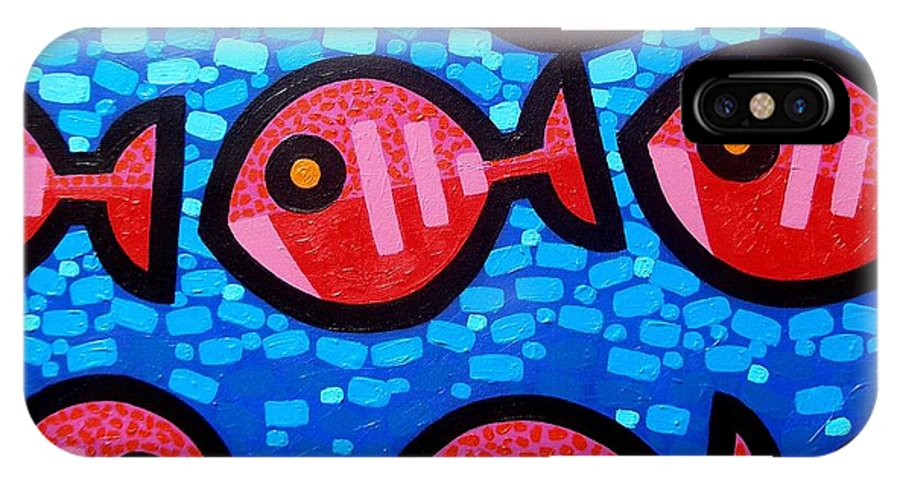 Fish IPhone X Case featuring the painting 9 Happy Fish by John Nolan