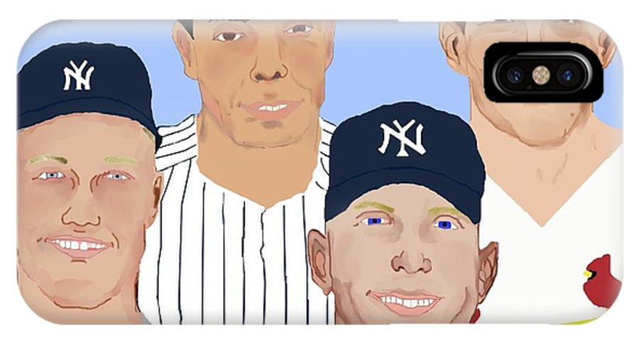 Baseball IPhone X Case featuring the painting 9-inning Legends by Pharris Art