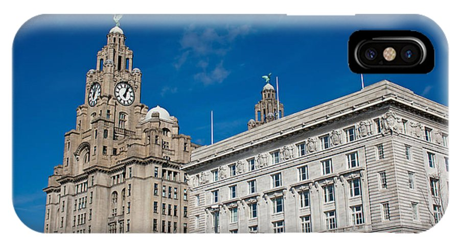 Liver Buildings IPhone X Case featuring the photograph Liverpool's World Heritage Status Waterfront Buildings by Ken Biggs