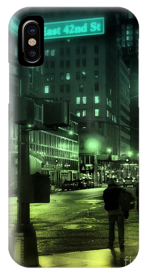 New York IPhone X Case featuring the photograph 9 P M In The City by Miriam Danar
