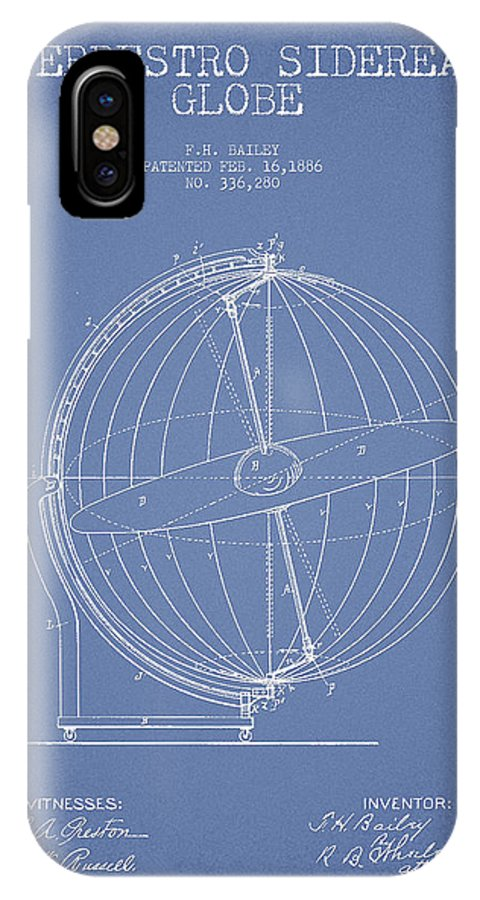 Globe IPhone X Case featuring the digital art Terrestro Sidereal Globe Patent Drawing From 1886 by Aged Pixel