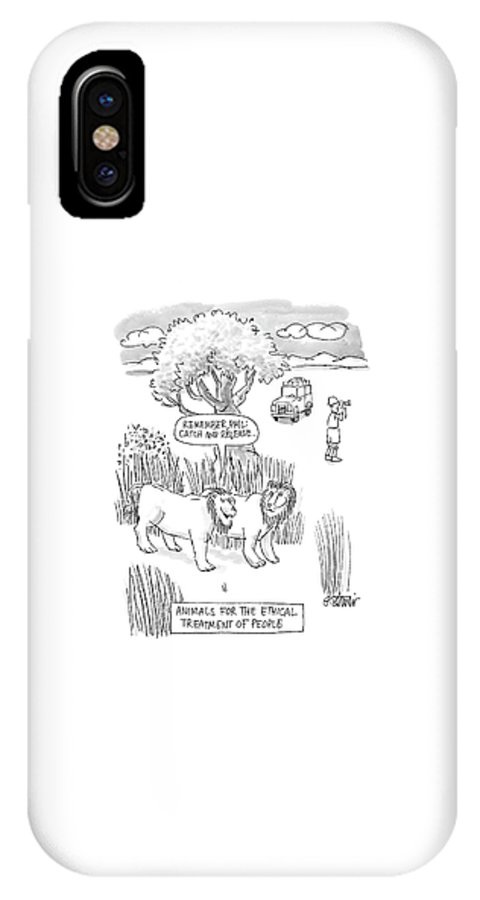 Animals For The Ethical Treatment Of People IPhone X Case featuring the drawing New Yorker April 24th, 2000 by Peter Steiner