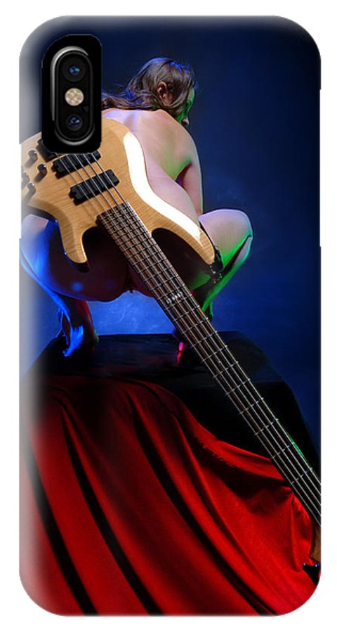 Bass IPhone X Case featuring the photograph 9091 Nude With Bass Guitar by Chris Maher