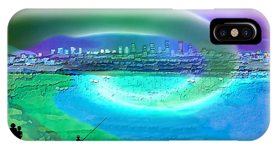 920 IPhone X Case featuring the painting 920 - Blue City On The Sea by Irmgard Schoendorf Welch