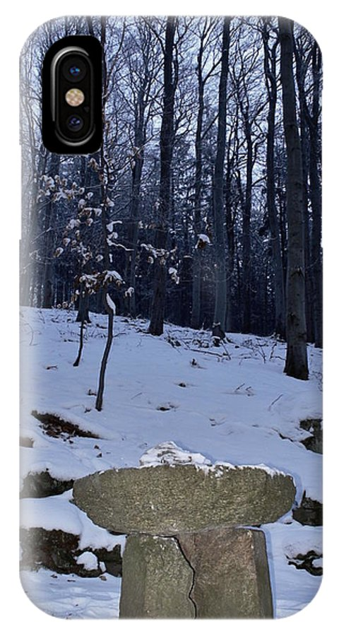 Winter IPhone X Case featuring the photograph Stone Altar In The Woods by Pavel Jankasek