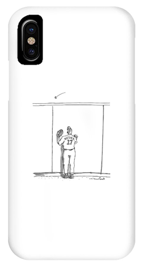 Baseball IPhone X Case featuring the drawing A Baseball Player Watches A Ball Fly Over A Wall by Michael Crawford