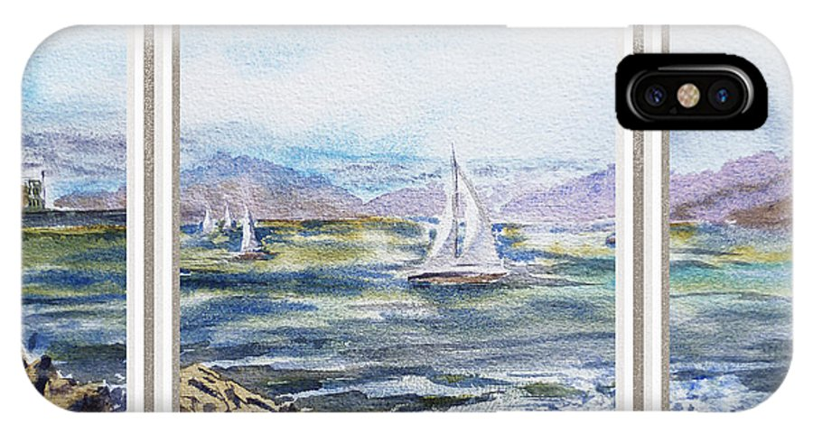 Ocean IPhone X Case featuring the painting A Bay View Window Rough Waves by Irina Sztukowski