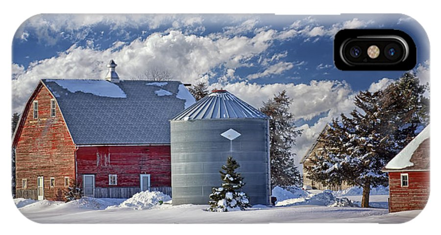 Red Barns IPhone X Case featuring the photograph A Beautiful Winter Day by Nikolyn McDonald