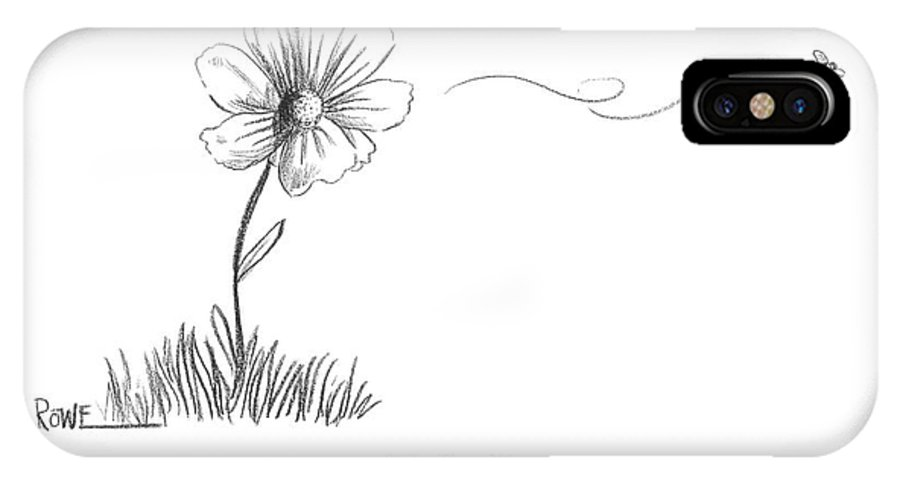 Flower IPhone X Case featuring the drawing A Bee Flying Away From A Daisy After Pollination by Julian Rowe