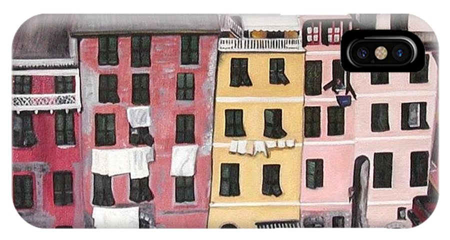 Vernazza IPhone X Case featuring the painting A Bird's Eye View Of Cinque Terre by Quin Sweetman
