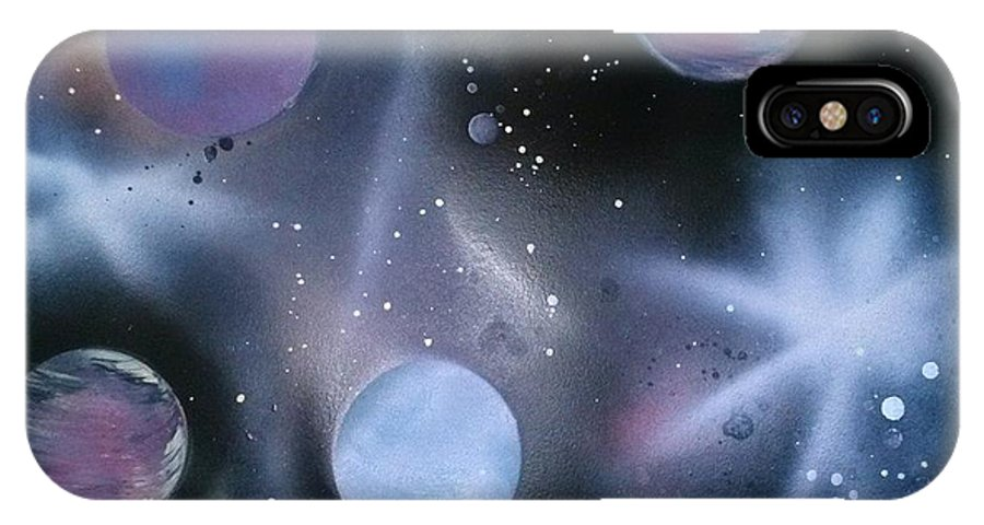 Space IPhone X Case featuring the painting A Bit Of Space by Britanni Martinez