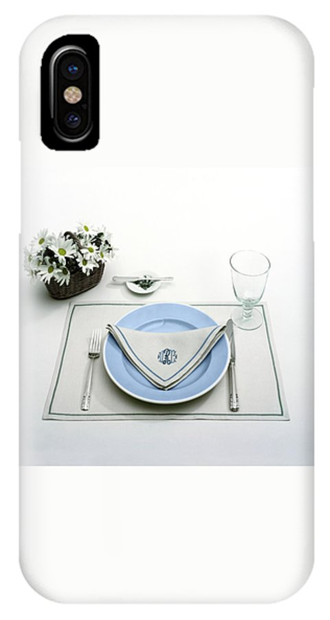 Utensils IPhone X Case featuring the photograph A Blue Table Setting by Haanel Cassidy