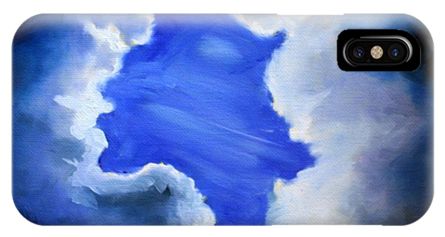 Sky IPhone X Case featuring the painting A Break From The Storm by Stacey Sherman