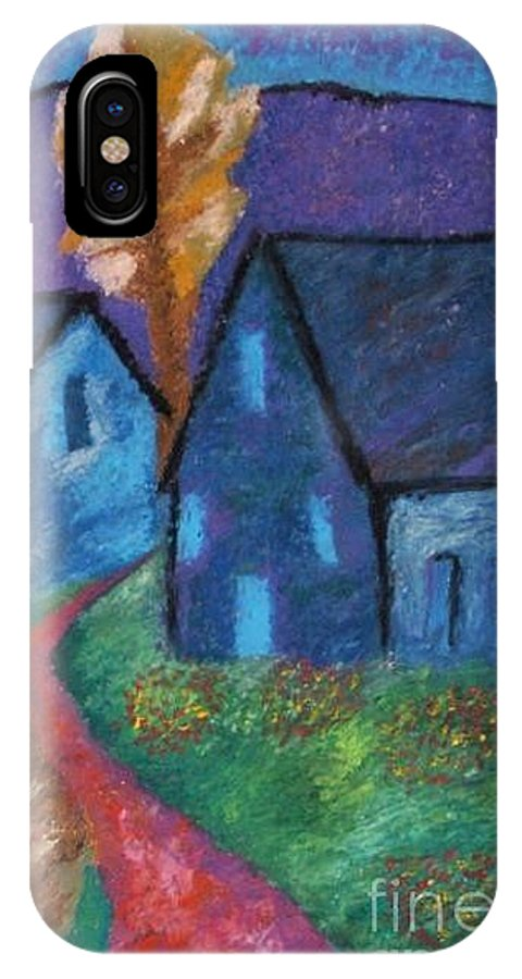 House Landscape IPhone Case featuring the pastel A Bright Night by Jon Kittleson