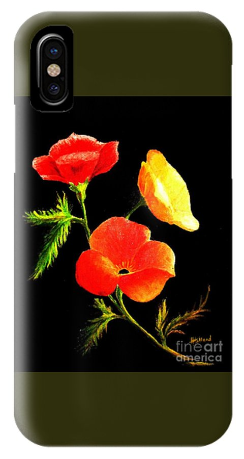 Poppies IPhone X / XS Case featuring the painting A Burst Of Sunshine by Hazel Holland