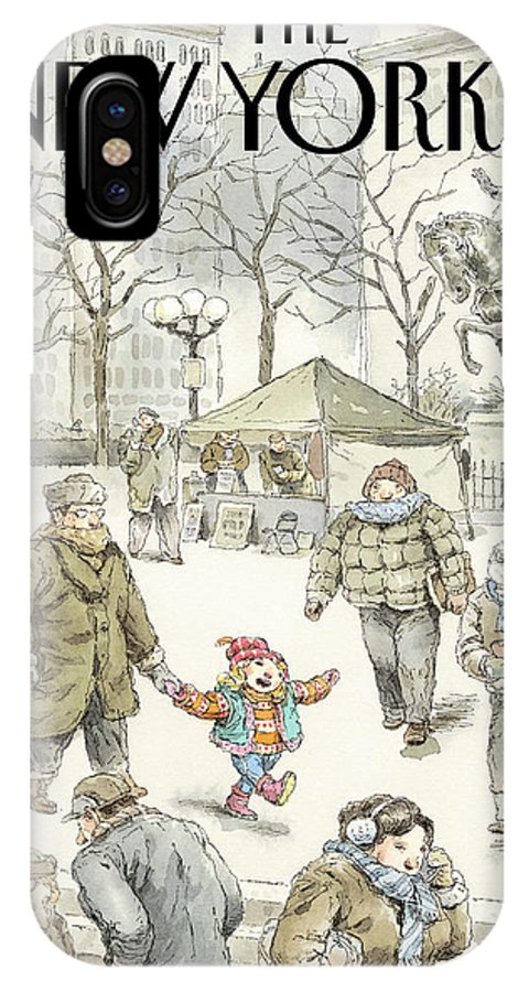 Child IPhone X Case featuring the painting Winter Delight by John Cuneo