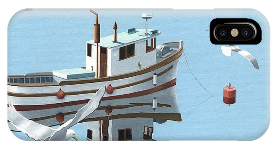 Boat IPhone Case featuring the painting A Contemplation Of Seagulls by Gary Giacomelli