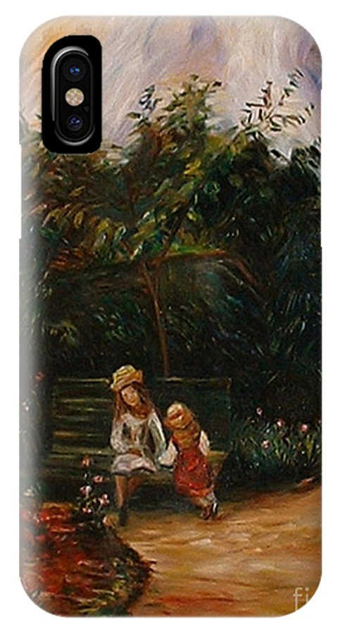 Classic Art IPhone X Case featuring the painting A Corner Of The Garden At The Hermitage by Silvana Abel